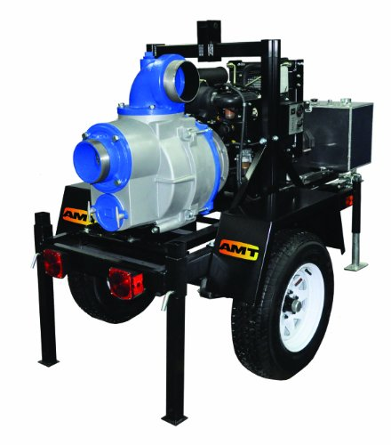 "Amt 5585-H6 6"" Engine Driven Trash Pump On Trailer, Honda V-Twin Ohv, 1000Gpm, Viton/Sic Seal"