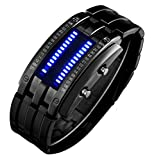 Binary Matrix Blue LED Digital Waterproof Watch Mens Classic Creative Fashion Black Plated Wrist Watches