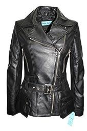 Smart Range Women\'s Feminine Retro Vintage Biker Style Designer Real Leather Jacket 16 Black