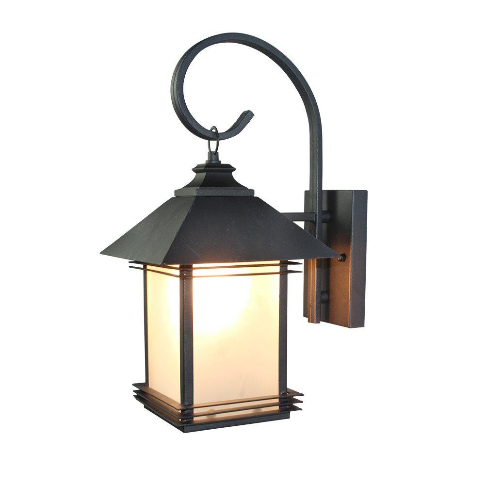 LNC Industrial Edison Vintage Style Loft One-Light Exterior Wall Lantern Outdoor Light Fixture,Black Finish with Glass 0