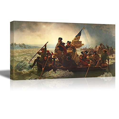 "Washington Crossing the Delaware by Emanuel Gottlieb Leutze - Canvas Wall Art Famous Fine Art Reproduction| World Famous Painting Replica on Wrapped Canvas Print Modern Home Decor Wood Framed & Ready to Hang - 18"" x 36"""