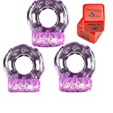 3Pcs Orgasmic Stay Hard Vibrating Erection Ring, Purple
