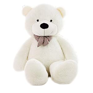 MorisMos Giant Teddy Bear Stuffed Animals Plush Toy White Teddy Bear for Girlfriend Kids (White, 55 Inch) (Color: White, Tamaño: 55 Inch)