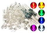 microtivity IL184 5mm Assorted Clear LED w/ Resistors (6 Colors, Pack of 60)