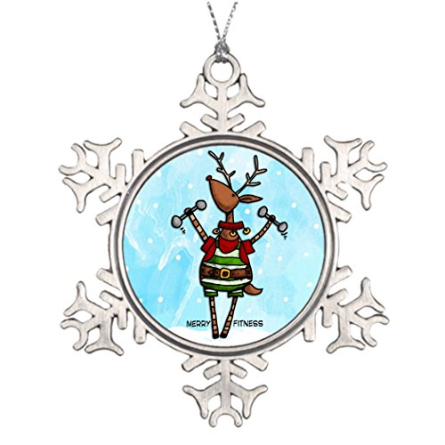 Moc Moc Xmas Trees Decorated merry fitness reindeer Snowflake Ornaments Designs Tree Snowflake Ornament