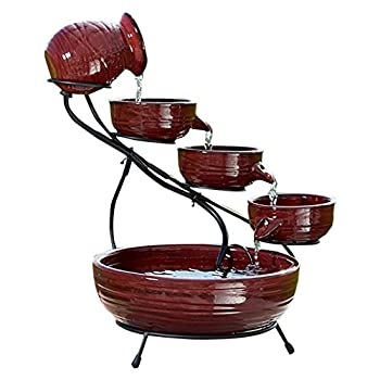 Smart Solar 23941R01 Ceramic Solar Cascade Fountain, Lava Red Finish, Powered by Included Separate Solar Panel, No Operating Costs or Wiring Required