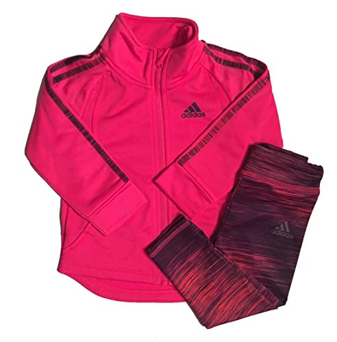 Adidas Baby Girls 2 Piece PinkTricot Jacket and Printed Leggings Set 12M