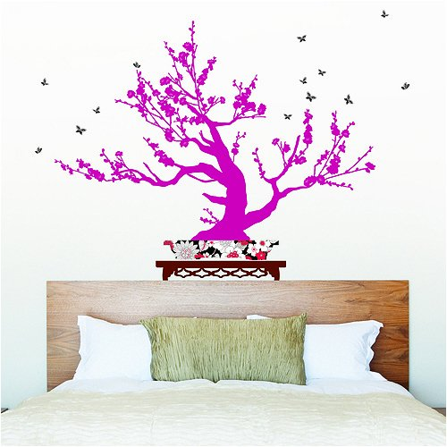 Nursery Easy Apply Wall Sticker Decorations - Contemporary Pink Bonsai