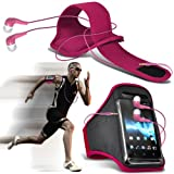 Nokia Lumia 610 Universal Sports Armbands Running Bike Cycling Gym Jogging Ridding Arm Band Case Cover & 3.5mm Jack Earbuds Earphones Headphones (Hot Pink) By Spyrox