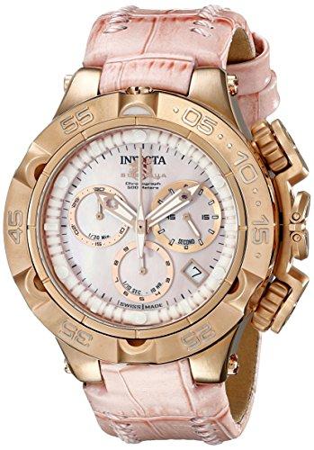 Invicta 17230 42 mm de acero inoxidable caja de acero de color rosa y la fusión de la llama de piel de becerro de las mujeres reloj de pulsera para mujer