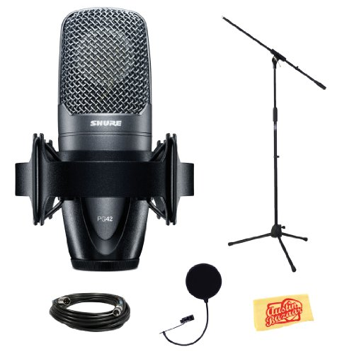 Shure Pg42 Vocal Condenser Microphone Bundle With Boom Stand, Mic Case, Pop Filter, Xlr Cable, Shockmount, And Polishing Cloth