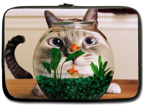 High Quality FUNNY HUMOR Cat looking at a goldfish bowl Water Resistant Neoprene Laptop Sleeve 15 Inch Notebook Computer Bag Case Cover(Twin Sides)