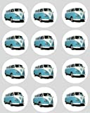 12 VW camper blue rice paper fairy cup cake 40mm toppers pre cut decoration