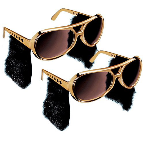 Elvis Sunglasses - 2pc Elvis Presley Sunglasses - Gold Elvis Style W/ Sideburns