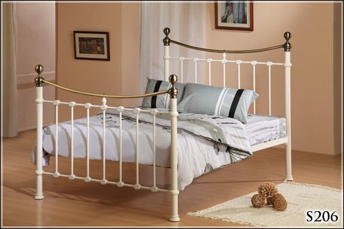 BRAND NEW 4ft 6 IVORY METAL DOUBLE SIZE ANTIQUE BRASS BED FRAME