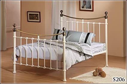 BRAND NEW 5ft IVORY METAL KING SIZE ANTIQUE BRASS BED FRAME AND SLUMBER SLEEP ORTHOPAEDIC ORTHO MATTRESS