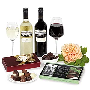 Belgian Chocolates, Chilean wines and mints in gift box - Includes Mainland Next Working Day Delivery. Red and white wine with Belgian Chocolates and mints hamper. Includes Next Working Day Delivery
