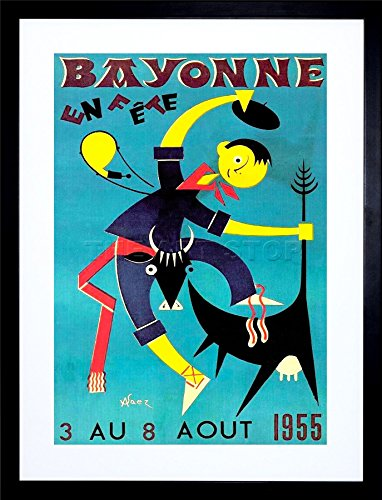 ADVERT-EXHIBITION-FAIR-FETE-BAYONNE-COW-BULL-FRANCE-ART-FRAMED-ART-PRINT-PICTURE-MOUNT-F12X064