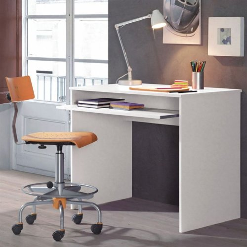 i joy computer desk with pull out keyboard shelf in gloss white ebay. Black Bedroom Furniture Sets. Home Design Ideas