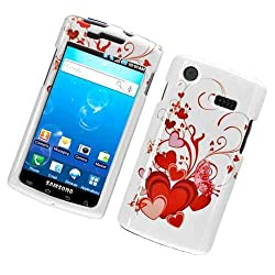 Red Heart Butterfly Design Snap on Hard Skin Shell Protector Cover Case for Samsung Captivate I897 + Microfiber Pouch Bag
