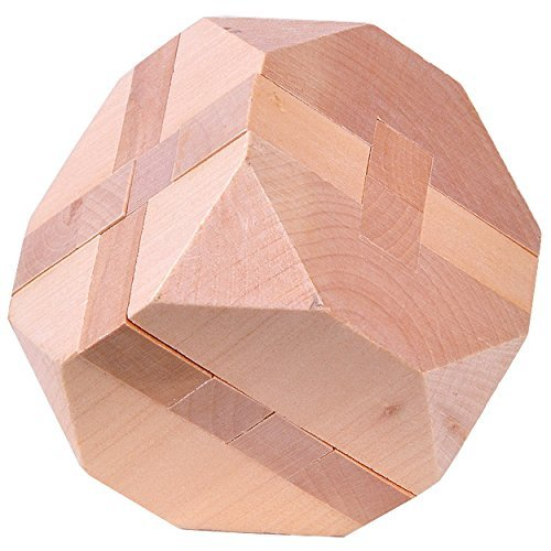 KINGOU Wooden Tetrakaidecahedron Logic Puzzle Burr Puzzles Brain Teaser Intellectual Jigsaw Toy