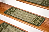 Dean Washable Non-Skid Carpet Stair Treads - Dark Spring Green Scroll Border (Set of 13)
