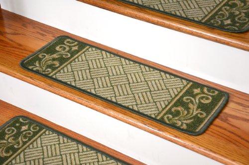 Dean Washable Non-Skid Carpet Stair Treads - Dark Spring Green Scroll Border (Set of 13)