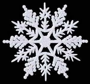 36 6 1 2 white glitter snowflake ornaments
