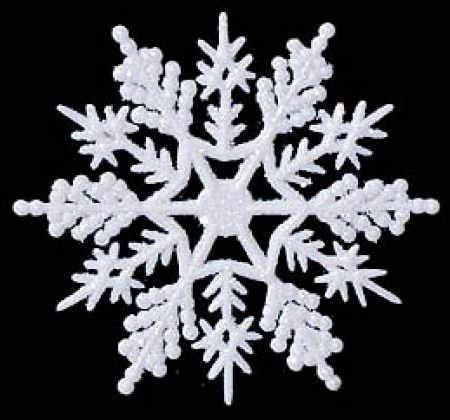 36 White Glitter Snowflake Ornaments Christmas Winter Ornament