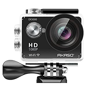 AKASO EK5000 1080P Sports Action Camera Full HD Camcorder 12MP WiFi Waterproof Camera 2 Inch LCD Screen 170 Degree Wide View Angle W/2 Rechargeable Batteries/19 Accessories Kits
