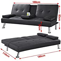 CINEMO 3 SEATER SOFA BED FAUX LEATHER w FOLD DOWN TABLE CHROME LEGS FUTON from More4Homes