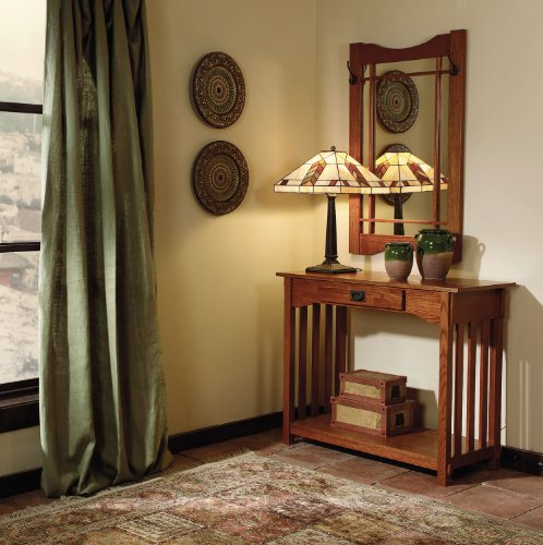 Powell Mission Oak Console And Mirror front-1025637