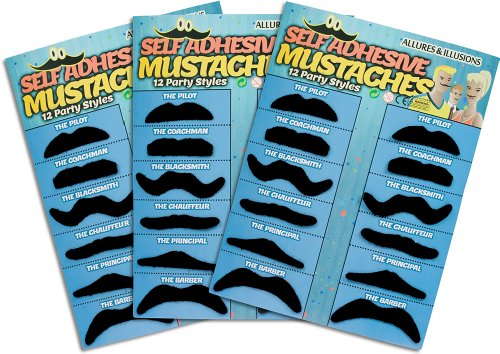 36 Pack Fake Mustache Mustaches Novelty & Toy 36pk - Black By Allures & Illusions