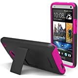GreatShield Legacy Series Ultra Slim Fit Dual Layer Hybrid Case with Kickstand & Screen Protector for HTC One / M7 (Black & Hot Pink)