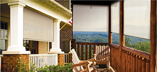 Coolaroo exterior cordless roller shade 8ft by 8ft sesame - Coolaroo exterior retractable window shades ...