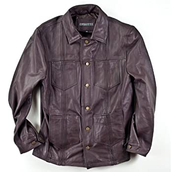 Brown Leather Guayabera Jacket. Limited Inventory