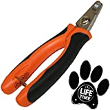 GoPets Professional Pet Nail Clipper for Medium or Small Dogs and Cats, Stainless Steel Trimmer Blades Include 1 Nail File, Angled Blades for Quick Safety