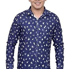 Ivory Men's Casual Cotton Shirt (2942-White-XXL_Navy Blue)