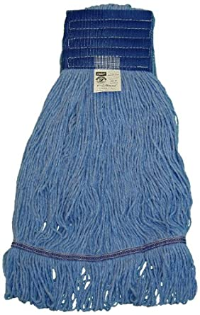 "Zephyr HC/Blend Blue 4-Ply Yarn  Health Care Loop Mop Head with 5"" Mesh Wide Band (Pack of 12)"