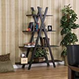 SEI Black &quot;X&quot; Etagere