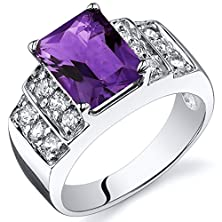 buy Amethyst Step Ring Sterling Silver Rhodium Nickel Finish 2.00 Carats Size 6