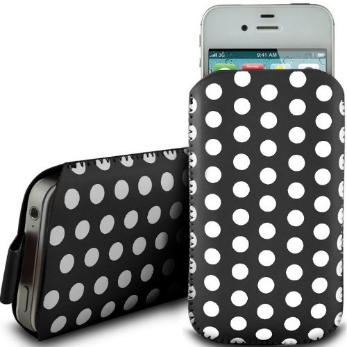 N4U Online Black Polka Dot Premium Pu Leather Pull Flip Tab Case Cover Pouch For Samsung Galaxy S Blaze 4G T769