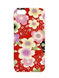 iPhone SE / 5s ケース 和柄 花 ちりめん 生地 赤 iphonese iphone5s iphone5 専用 日本製 ハンドメイド レッド