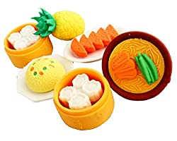 COI 3D Sushi , Pineapple Erasers Set Of Six For Kids