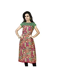 Miss & Mrs Party Wear Cap Sleeve Printed Cotton Women's Kurti