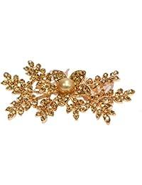 Mansiyaorange Floral Funky Latest Multi Purpose Party Wear Golden Hair Accessory/Hair Comb/Hair Clip/Hair Tiarra...