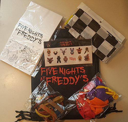 Five Nights At Freddy's Theme Party Favors Pack for 10 Guests Birthday Wristbands Balloons Bags Stickers (Ps4 Streamer compare prices)