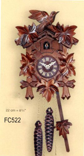 FC522 SA Cuckoo Clock Mechanical (traditional wind up) 30 Hour. Real Wood. Genuine Black Forest made. Cuckoo calls. Carved 5 leaves  &  Bird at top. Night Shut Off Lever