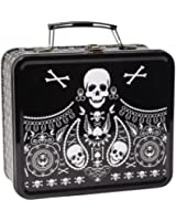 Skull and Paisley Black and White Metallic Lunch Box