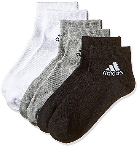 adidas Performance Ankle Thin sottile caviglia 3 paia di calze, Multicolore (Nero/grigio/bianco), 35-38